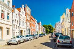 View of an empty street in Lubeck, Germany stock image