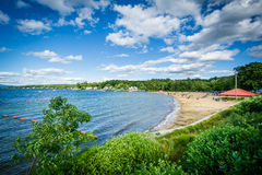 View of Endicott Rock Park Beach along Lake Winnipesaukee in Wei Royalty Free Stock Photo