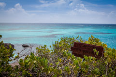 View of the endless perfect Caribbean sea, Providence, Colombia. View of a perfect Caribbean sea taken from a small remote island on a coral reef outside Stock Images