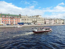 The view from the Engineering  bridge on the river Fontanka and embankment in Saint-Petersburg, Russia. Royalty Free Stock Images