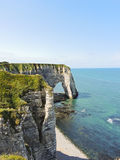 View of english channel coast with cliffs. On Etretat cote d'albatre, France Stock Photography