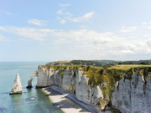 View of english channel coastline of Etretat. Cote d'albatre, France Royalty Free Stock Photo