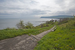 View of english coastline on overcast day Royalty Free Stock Images