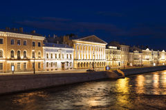 A view of the English Embankment in St. Petersburg at night, Stock Photo