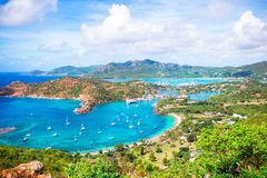 View of English Harbor from Shirley Heights, Antigua, paradise bay at tropical island in the Caribbean Sea Stock Image
