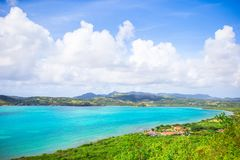 View of English Harbor from Shirley Heights, Antigua, paradise bay at tropical island in the Caribbean Sea Stock Photos