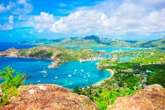 View of English Harbor from Shirley Heights, Antigua, paradise bay at tropical island in the Caribbean Sea royalty free stock photo