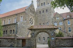 View of the entrance of the Abbey of St. Maurice and St. Maurus royalty free stock photo