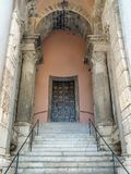 The entrance of the bell tower of the Cathedral of Gaeta in Ital. View of the entrance of the bell tower of the Cathedral of Gaeta in Italy. The entrance in royalty free stock photo