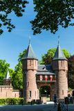 View of the entrance gate of the Kasteel de Haar Castle Royalty Free Stock Image