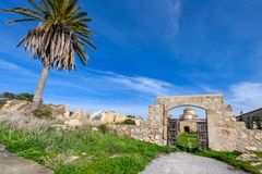 A view through the entrance gate of Panagia Kanakaria Church and Monastery in the turkish occupied side of Cyprus 4. A view through the entrance gate of Panagia stock image