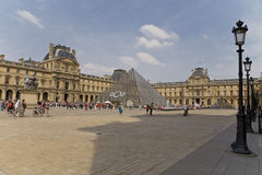 View of entrance of Louvre museum Paris Royalty Free Stock Photos