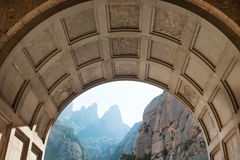 View from the entrance of Montserrat monastery Stock Photo