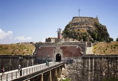 View of entrance at old fortress of Corfu. Kerkyra island. Medieval fortress on a rocky peninsula offering sweeping sea views & historic churches Stock Images