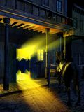 Saloon entrance at night. View of the entrance of the saloon of a vintage western town at night. A horse is waiting outside. Vertical version royalty free illustration