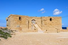 Gun Battery, Marsalforn. View of the entrance to the Il-Qolla I-Badja battery, Redoubt, Marsalforn, Gozo, Malta, Europe Royalty Free Stock Images