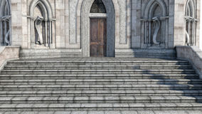 View of the entrance to the mysterious castle with stairs and statues Royalty Free Stock Images