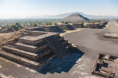 View of an epmty Avenue of The Dead ant Pyramid of the Moon from Stock Photo