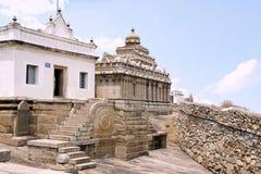 View of Eradukatte Basadi and Chavundaraya Basadi in the background, Chandragiri hill, Sravanabelgola, Karnataka. View of Eradukatte Basadi and Chavundaraya stock photo