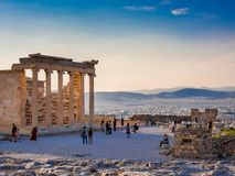 View of Erechtheion on Acropolis, Athens, Greece, against sunset overlooking the city royalty free stock images