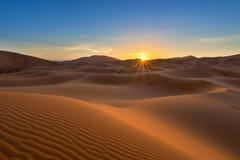 View of Erg Chebbi Dunes -  Sahara Desert. At sunrise, in Morocco Stock Images