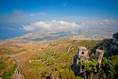 View from Erice Mountain towards Trapani Stock Images