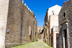 View of Erice in Sicily, Italy. View of old street in Erice in Sicily, Italy stock photography