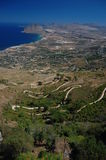 View from Erice to the coast of western Sicily Stock Images