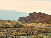 View of the erosional landscape in Zabriskie Point - Death Valley, California.  Royalty Free Stock Images
