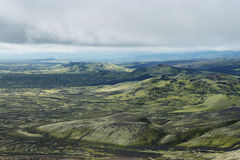 View of eruption craters at Lakagigar area, Iceland Stock Photos