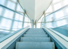 View of escalator in business centre in motion. stock images