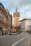 The view of Eschenheimer Turm and Fliming's Deluxe hotel in Frankfurt Stock Images