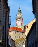 View of Český Krumlov Castle Tower from an Alley. A Distant View of the Castle Tower from an Alley in Český Krumlov Royalty Free Stock Photos