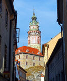 View of Český Krumlov Castle Tower from an Alley Royalty Free Stock Photos