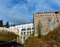 View of Český Krumlov Cloaked Bridge and the Castle Courtyard Stock Image