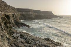 View of Esmeralda beach in Fuerteventura, Canary Islands, Spain. View of a cliff in Fuerteventura, Canary Islands, Spain royalty free stock photography