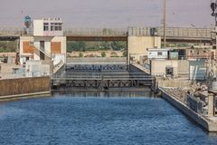 View into the Esna lock. On the Nile stock images