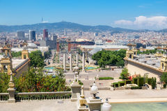View of Espanya Square from Montjuic hill. Barcelona, Spain Royalty Free Stock Image