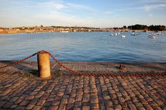 View from the Esplanade Robert Surcouf of the harbor of Saint Malo with Saint Servan in the background, Saint Malo royalty free stock images