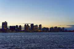 View from Esplanade to Jersey City skyline in the evening Stock Photos
