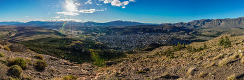 View of Esquel, Argentina. View from the top of the mountain, Esquel, Patagonia, Argentina stock photo