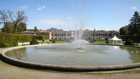View of Estense Palace Palazzo Estense with a fountain in front, Varese, Italy. stock footage
