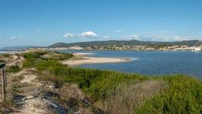 View of the estuary of Cavado river. View of the estuary of Cávado river, Esposende - Portugal royalty free stock photos
