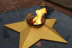 View of Eternal flame. In the park stock photos