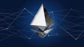 Ethereum crypto currency sign flying around a network connection Royalty Free Stock Images
