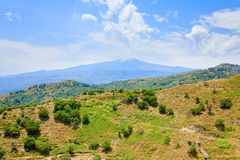 View on Etna and green sicilian hills Stock Photography