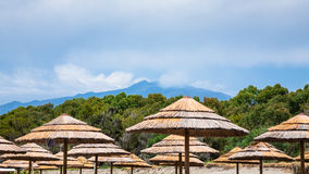 View on Etna mount from beach in Sicily Stock Image