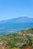 View on Etna in summer day Royalty Free Stock Image