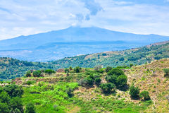 View on Etna in summer day Royalty Free Stock Photography