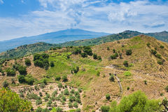 View on Etna in summer day Stock Photo